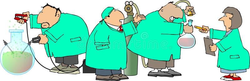 Cuatro científicos ilustración del vector
