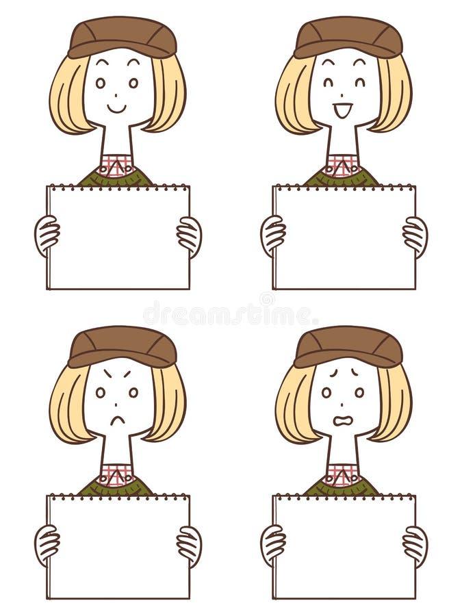 Cuatro clases de mujeres que llevan un sombrero con un tablero blanco libre illustration