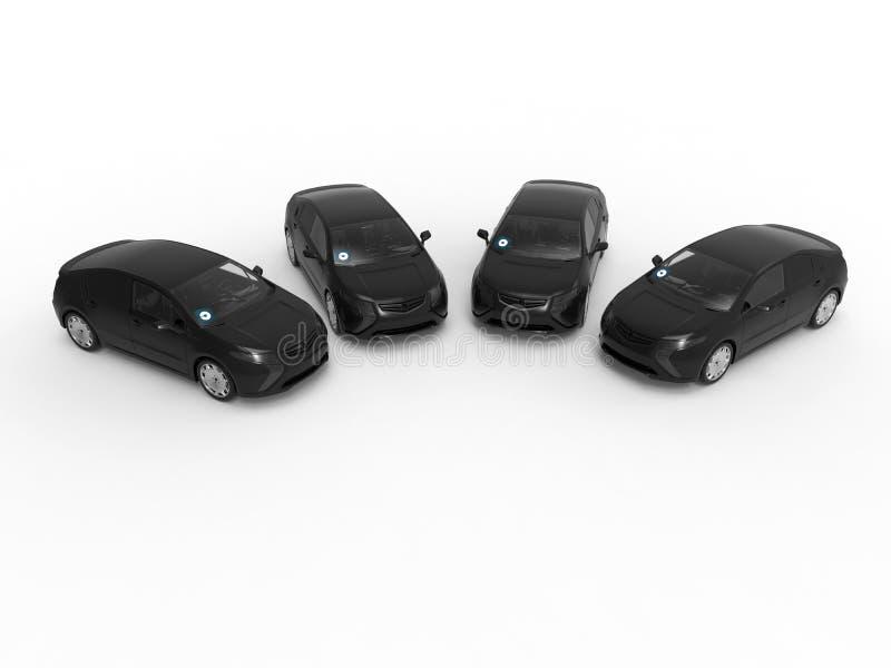 Cuatro coches del uber ilustración del vector