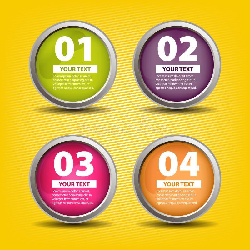 Cuatro colorearon los botones en estilo infographic con el lugar para su propio texto ilustración del vector