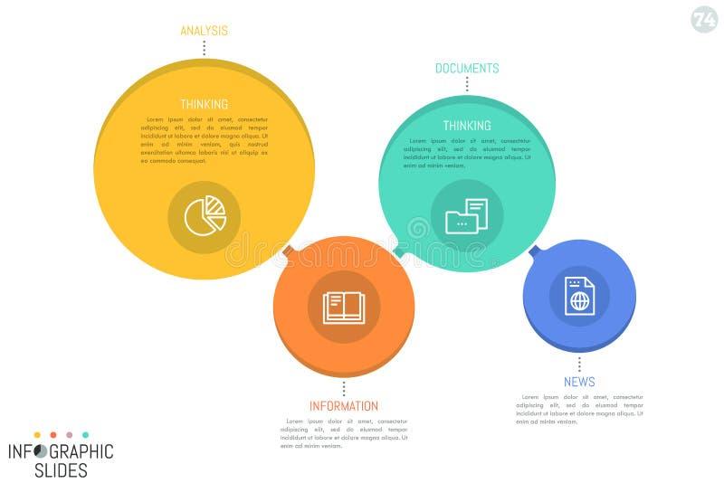 Cuatro conectaron elementos circulares del diversos tamaño y color con los iconos y los cuadros de texto stock de ilustración