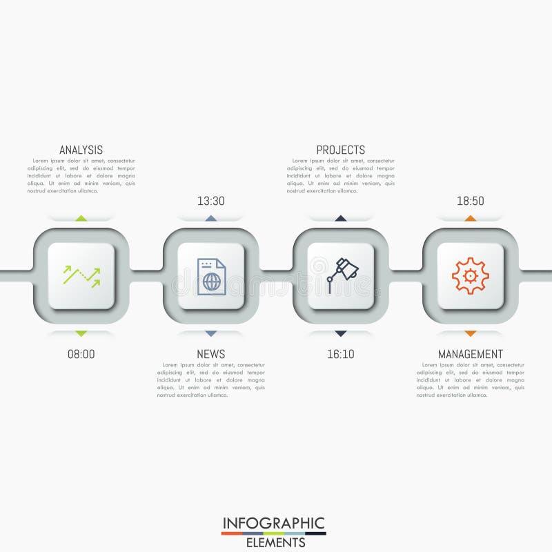 Cuatro conectaron elementos cuadrados con los iconos, los cuadros de texto y la indicación del tiempo ilustración del vector