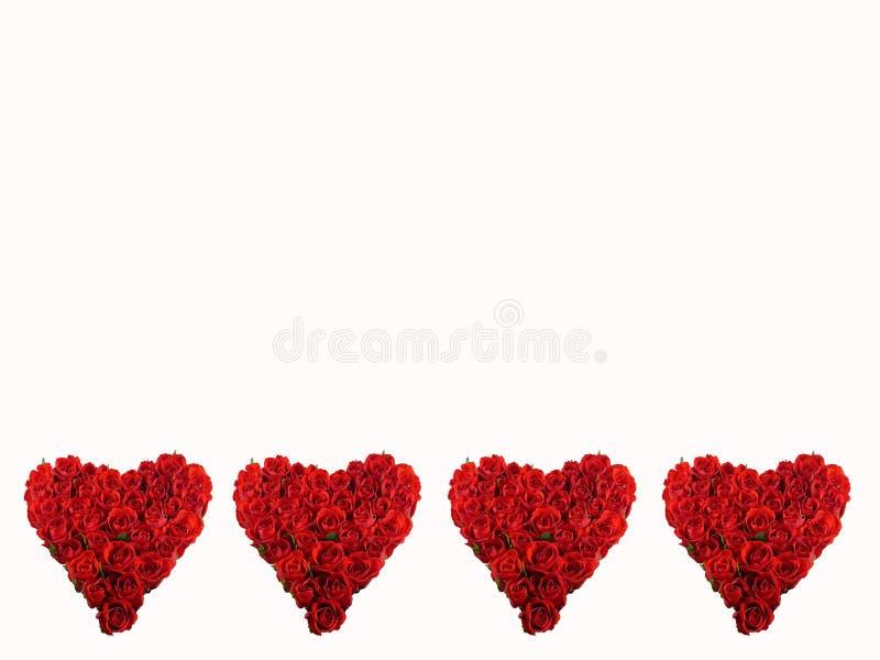 Cuatro corazones rojos fotografía de archivo libre de regalías