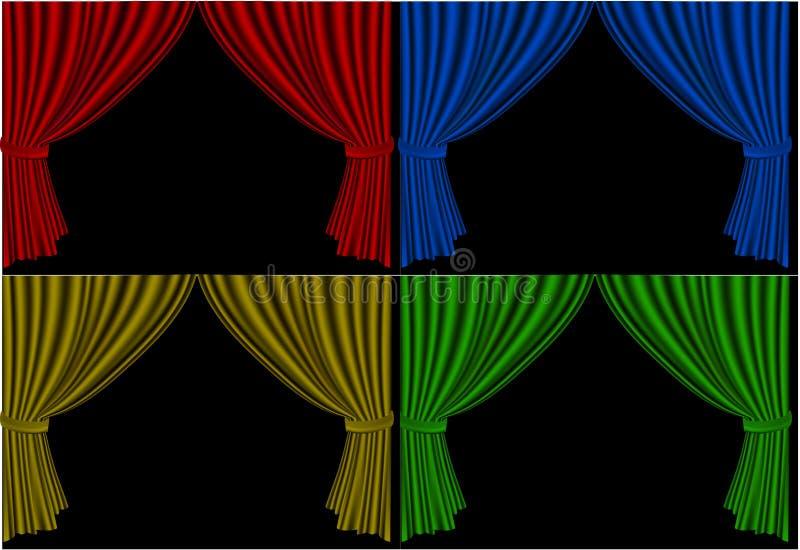 Cuatro cortinas de la etapa abierta ilustración del vector