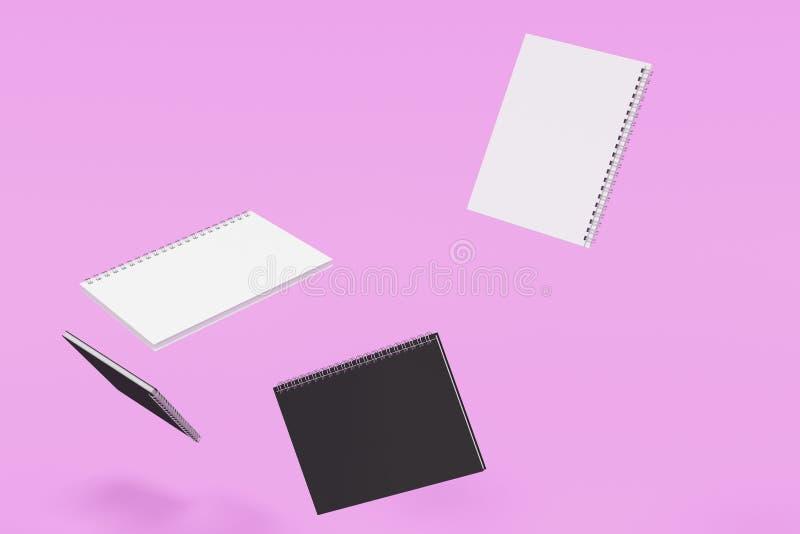 Cuatro cuadernos con espiral - limite en el fondo violeta stock de ilustración
