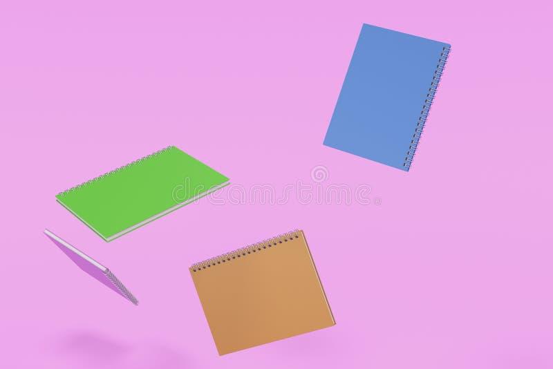 Cuatro cuadernos con espiral - limite en el fondo violeta libre illustration