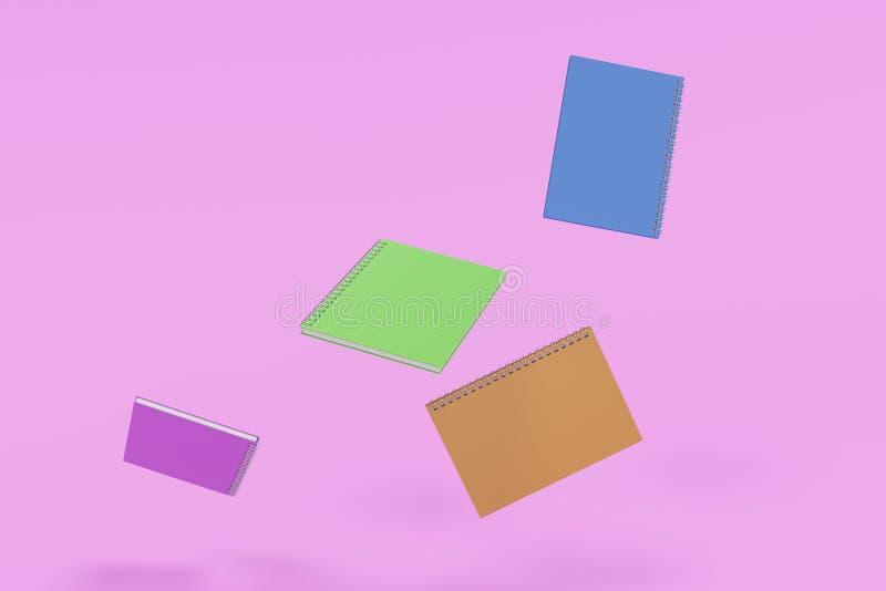 Cuatro cuadernos con espiral - limite en el fondo violeta ilustración del vector