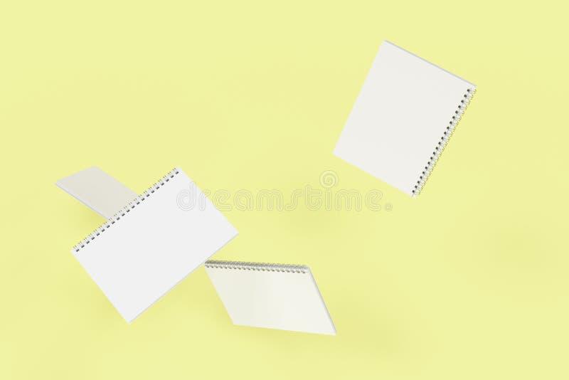 Cuatro cuadernos con espiral - limite en fondo amarillo libre illustration