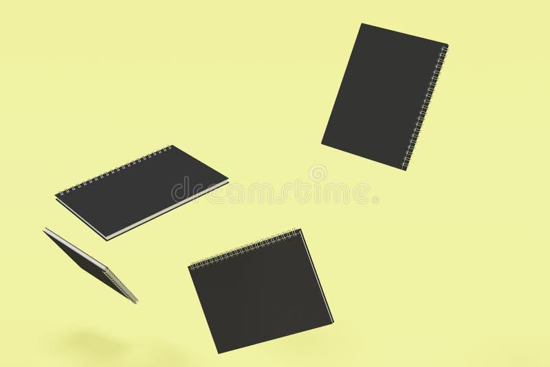 Cuatro cuadernos con espiral - limite en fondo amarillo stock de ilustración