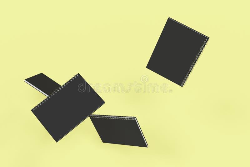 Cuatro cuadernos con espiral - limite en fondo amarillo ilustración del vector