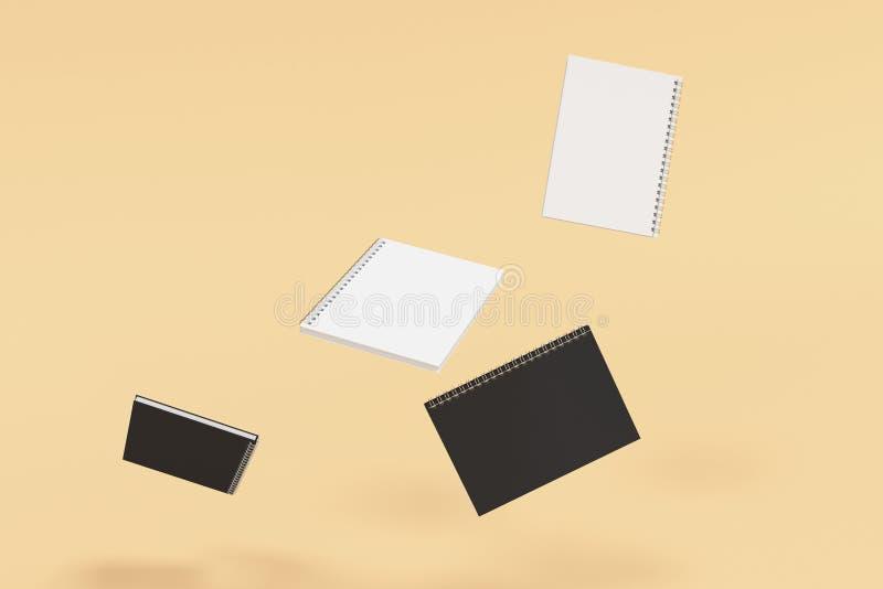 Cuatro cuadernos con espiral - limite en fondo anaranjado libre illustration