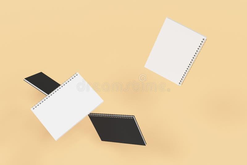 Cuatro cuadernos con espiral - limite en fondo anaranjado ilustración del vector