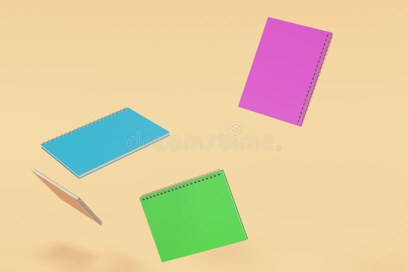 Cuatro cuadernos con espiral - limite en fondo anaranjado stock de ilustración