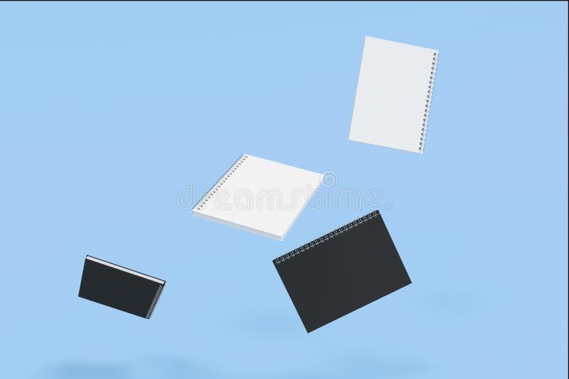 Cuatro cuadernos con espiral - limite en fondo azul libre illustration