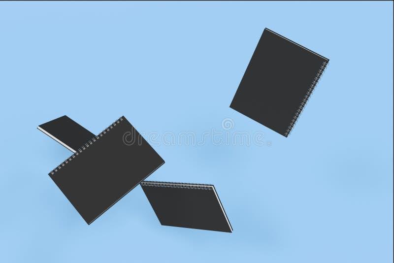 Cuatro cuadernos con espiral - limite en fondo azul ilustración del vector