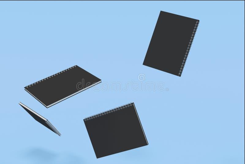 Cuatro cuadernos con espiral - limite en fondo azul stock de ilustración