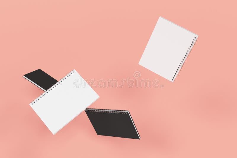 Cuatro cuadernos con espiral - limite en fondo rojo libre illustration