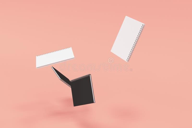 Cuatro cuadernos con espiral - limite en fondo rojo ilustración del vector