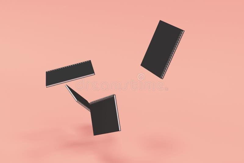 Cuatro cuadernos con espiral - limite en fondo rojo stock de ilustración
