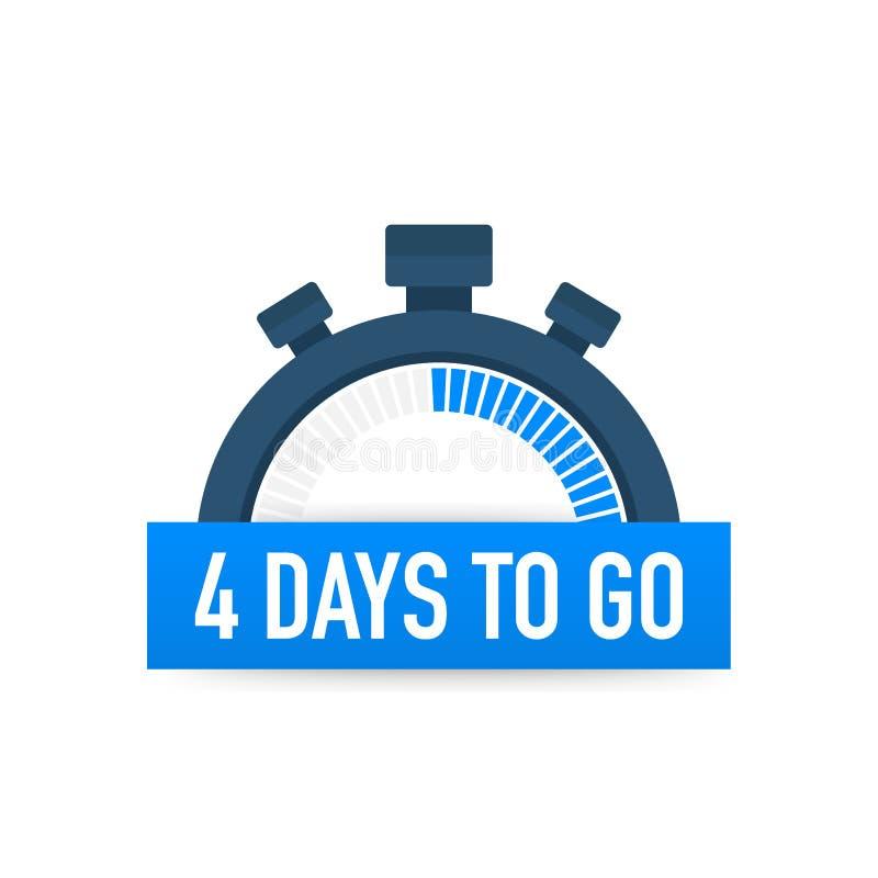 Cuatro días a ir Icono del tiempo Ilustración del vector en el fondo blanco ilustración del vector