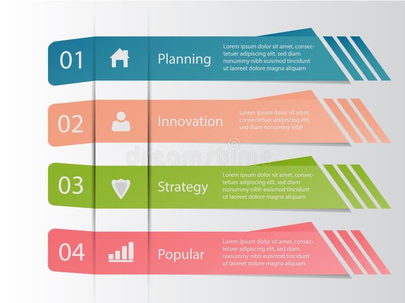 Cuatro datos de negocio infographic del paso stock de ilustración
