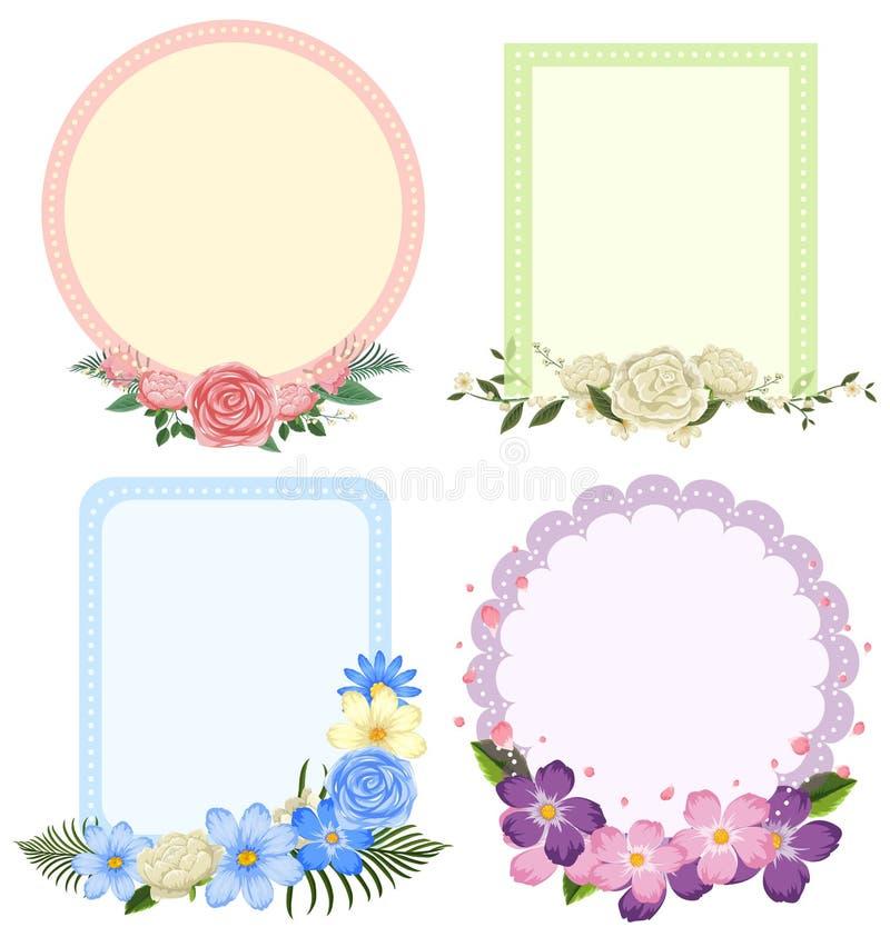 Cuatro diseños de bastidores de la flor en diversas formas ilustración del vector