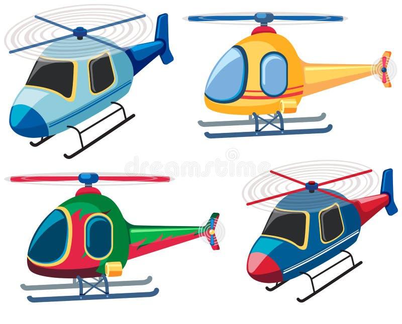 Cuatro diseños de helicópteros stock de ilustración