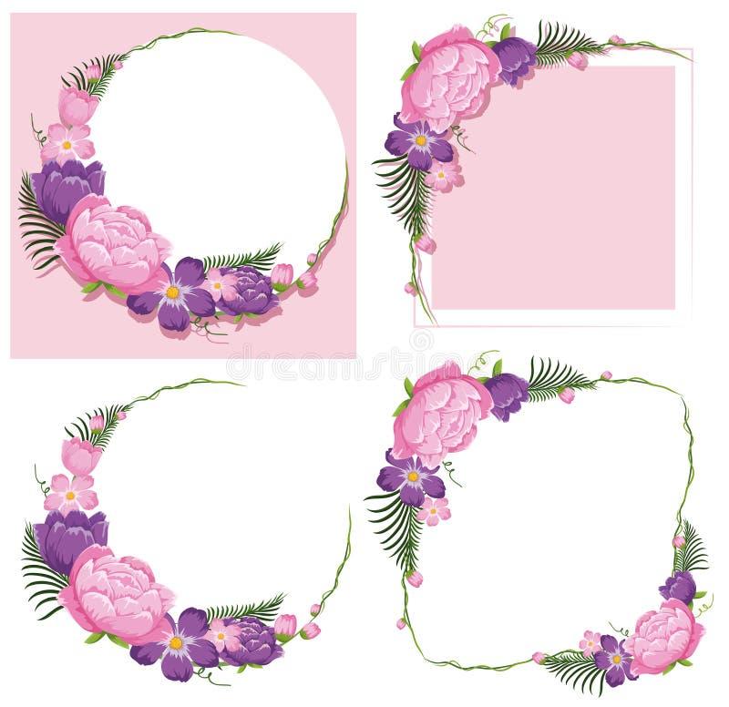 Cuatro diseños del marco con las flores rosadas y púrpuras ilustración del vector