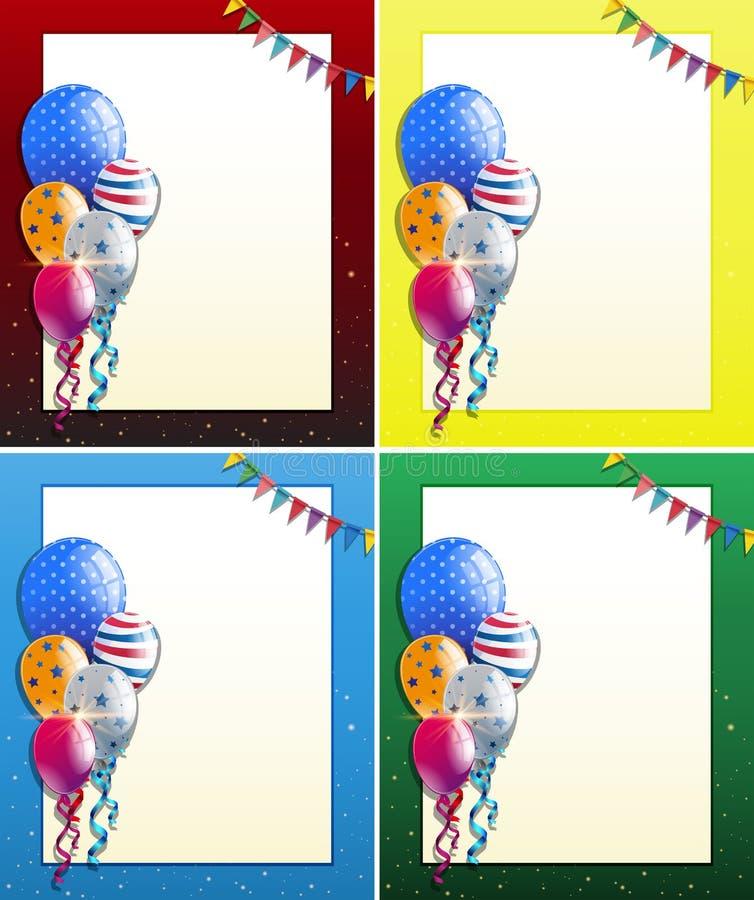 Cuatro diseños del marco con los globos y las banderas del partido ilustración del vector
