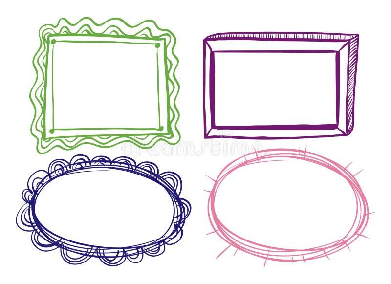 Cuatro diseños del marco en el fondo blanco libre illustration