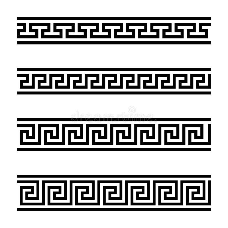 Cuatro diseños inconsútiles del meandro libre illustration