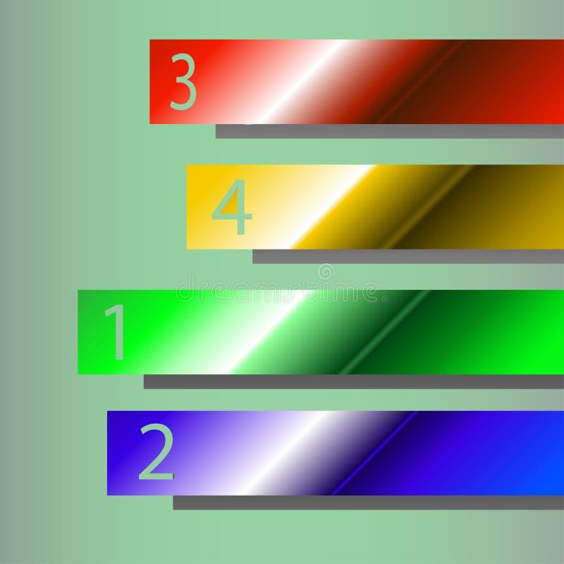 Cuatro diversas cintas de los colores con números ilustración del vector