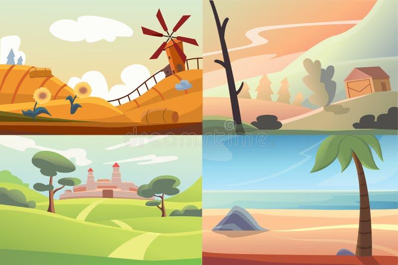 Cuatro diversas escenas hermosas de la naturaleza ilustración del vector