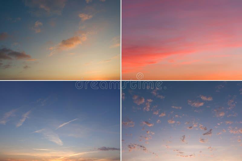 Cuatro diversas imágenes de la puesta del sol y de la salida del sol hermosas en tonos en colores pastel suaves foto de archivo libre de regalías
