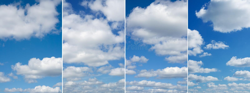Cuatro diversas imágenes del cielo hermoso fotos de archivo