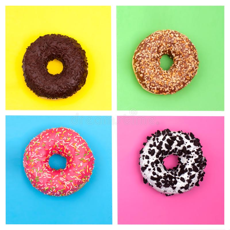 Cuatro diversos anillos de espuma en la opinión de top multicolora brillante del fondo foto de archivo libre de regalías