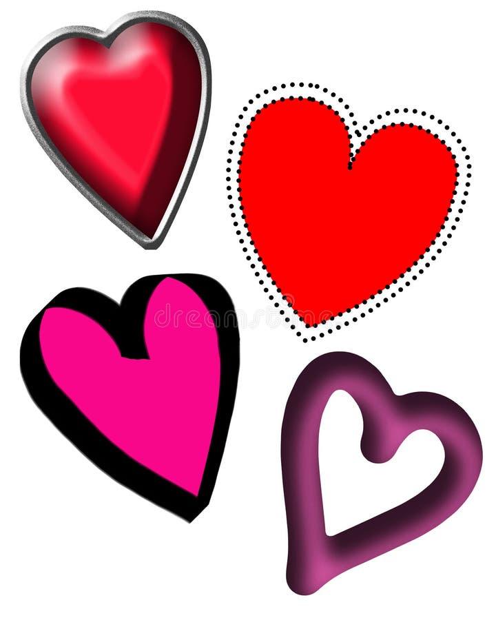 Cuatro diversos corazones libre illustration