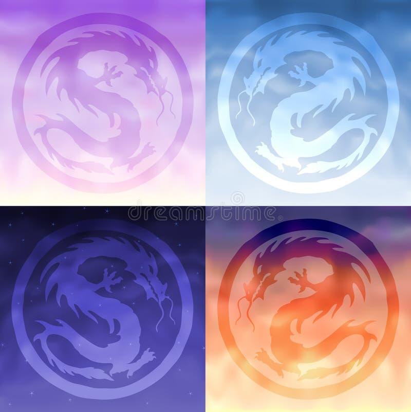 Cuatro dragones del cielo ilustración del vector