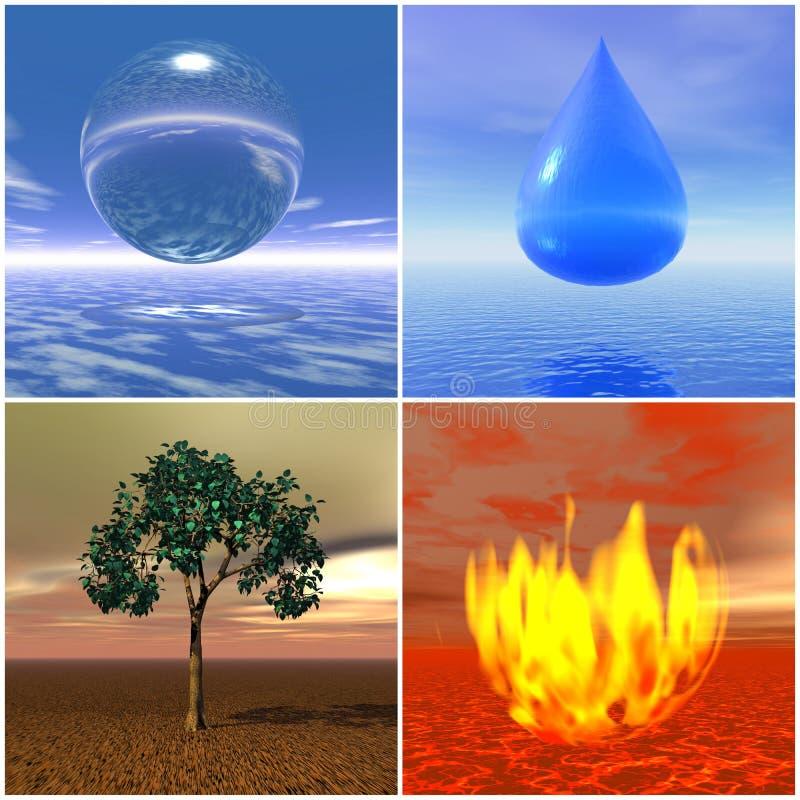 Cuatro elementos stock de ilustración