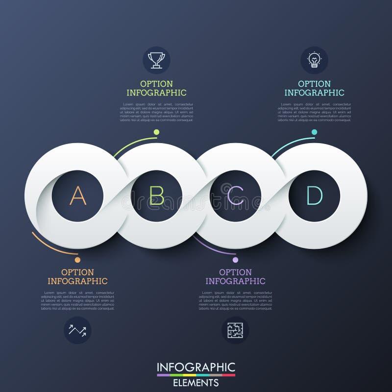 Cuatro elementos blancos de papel circulares sucesivamente conectaron en linea horizontal, pictogramas y cuadros de texto realist libre illustration