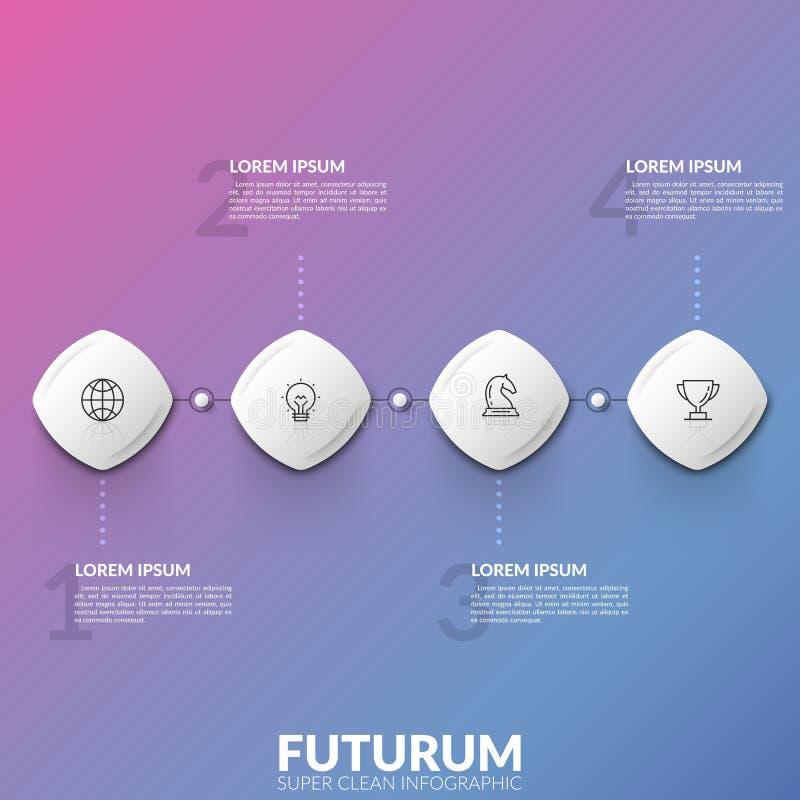 Cuatro elementos cuadrados con el interior linear de los iconos conectaron en linea horizontal y los cuadros de texto Concepto de ilustración del vector