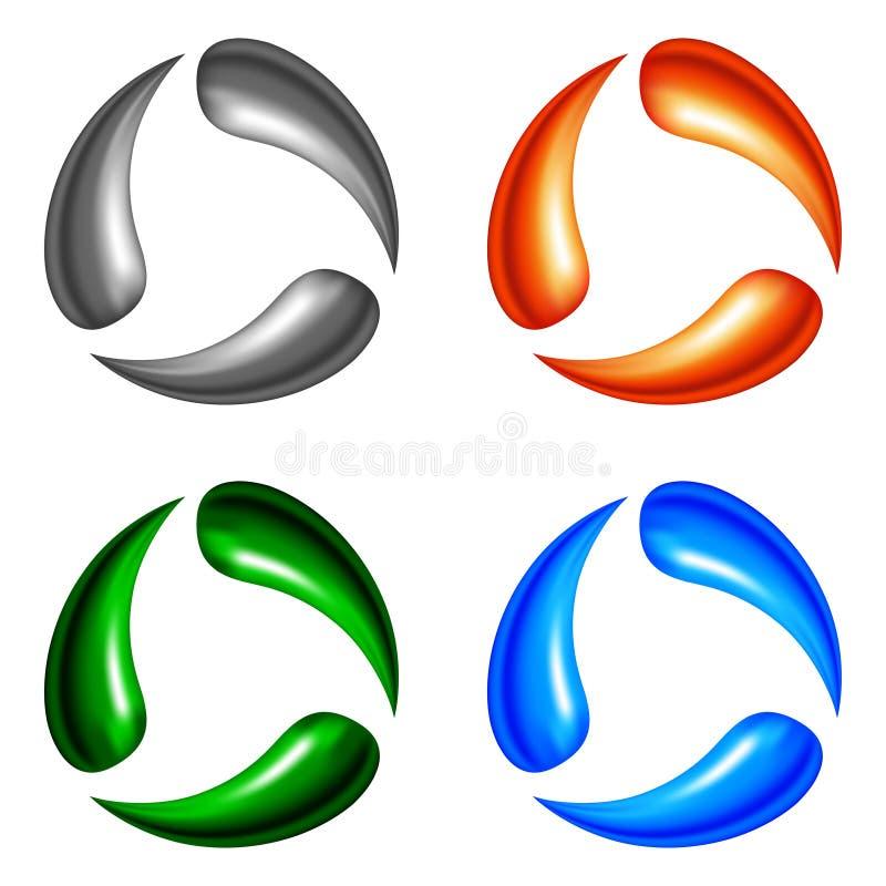 Cuatro elementos de la insignia ilustración del vector