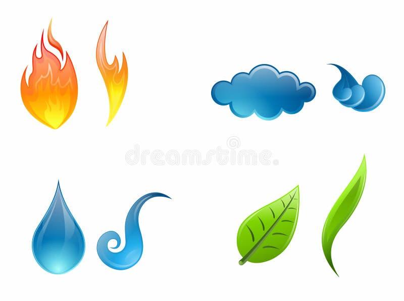 Cuatro elementos de la naturaleza ilustración del vector