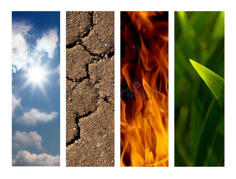 Cuatro elementos de la naturaleza foto de archivo