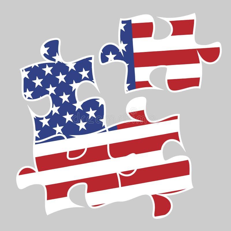Cuatro elementos del rompecabezas con la bandera americana ilustración del vector