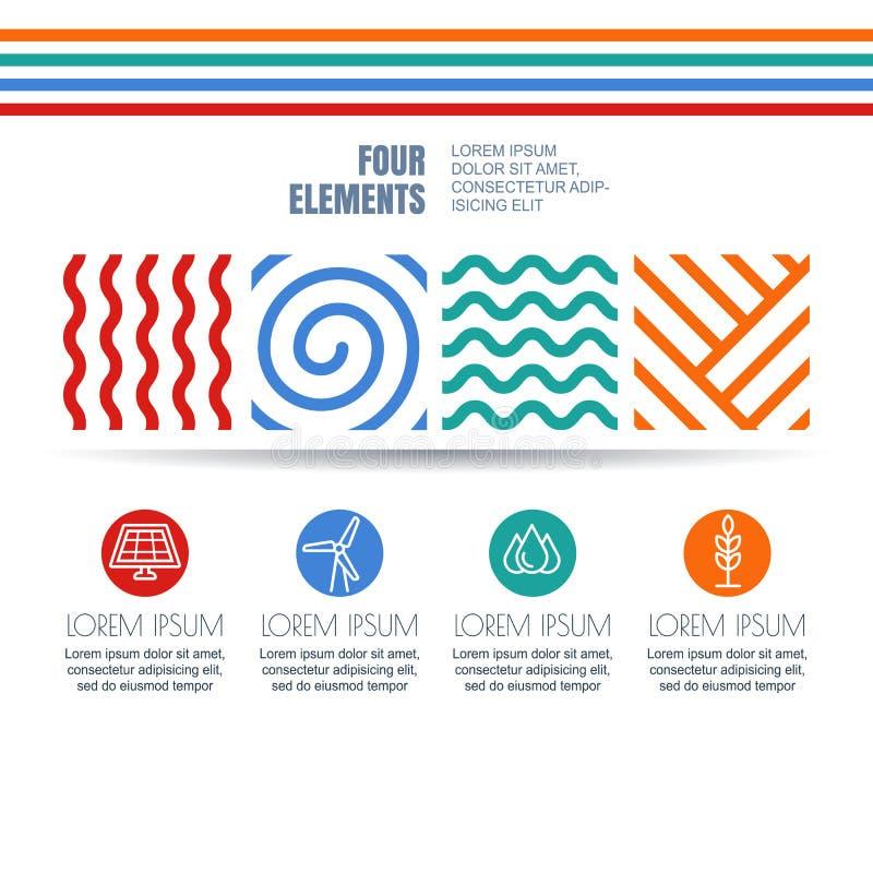 Cuatro elementos resumen símbolos lineares e iconos de la energía alternativa ilustración del vector