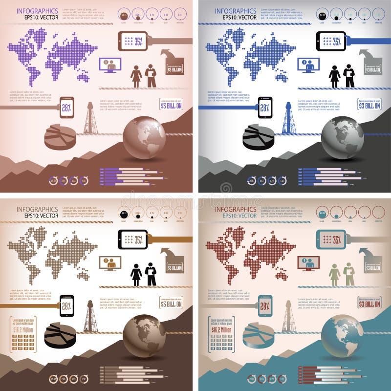 Cuatro-en-Uno infographics stock de ilustración