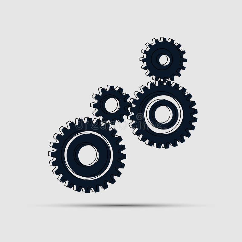 Cuatro engranajes de los pedazos fijaron el icono en fondo Ilustración del vector ilustración del vector