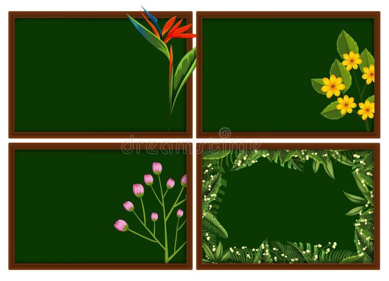 Cuatro enmarca diseños con diversos tipos de flores ilustración del vector