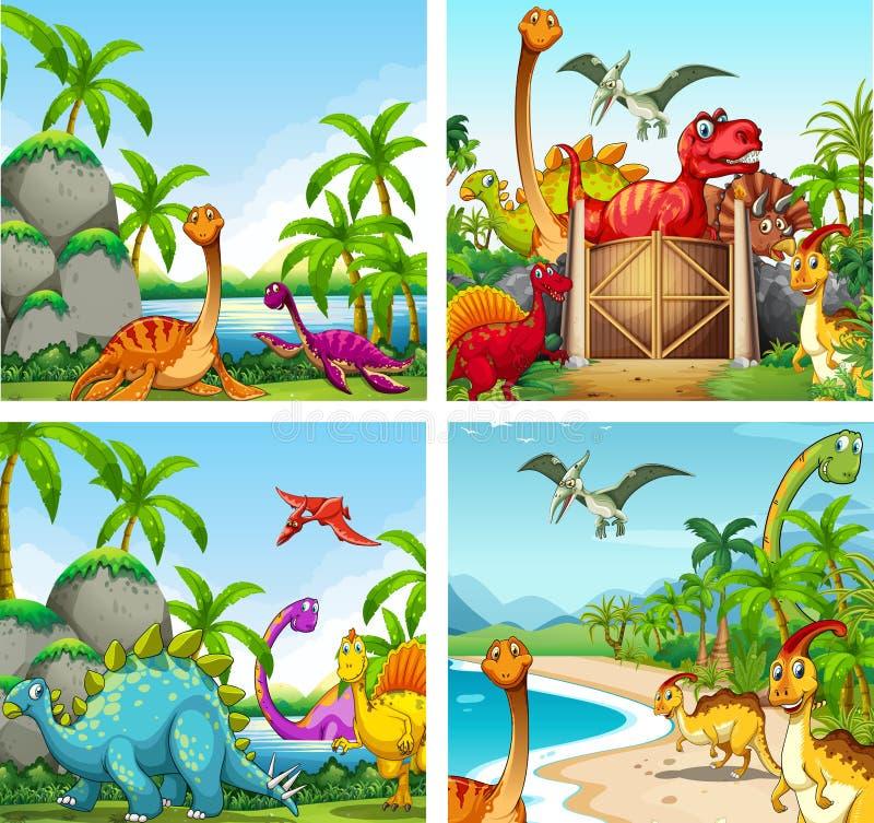 Cuatro escenas de dinosaurios en el parque stock de ilustración
